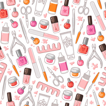 footcare: Manicure tools vector seamless pattern Illustration