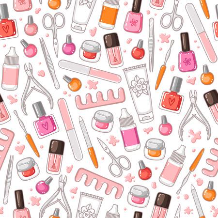 Manicure tools vector seamless pattern Illustration
