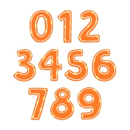 gingerbread cake: Gingerbread cookie numbers set isolated vector