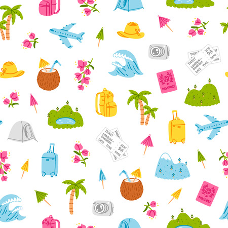 cartoon umbrella: Go on and travel, little travel illustrations seamless pattern