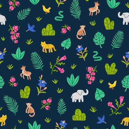 Jungle wildlife nature seamless pattern Illustration