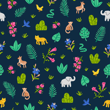 bougainvillea: Jungle wildlife nature seamless pattern Illustration
