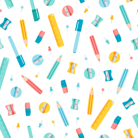 office supply: Colorful stationery supplies seamless pattern