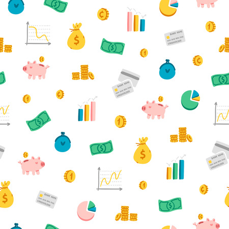 devaluation: Financial theme cartoon seamless pattern