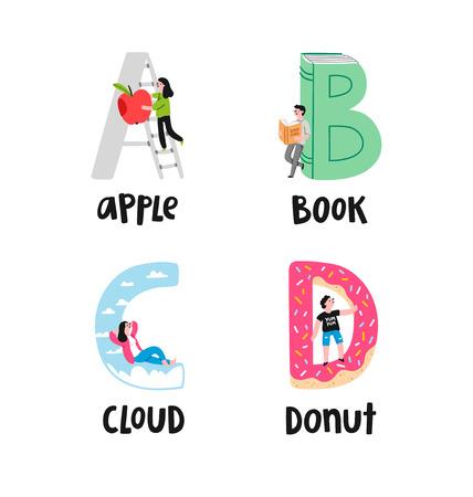 Alphabet letters a to d, illustrations set