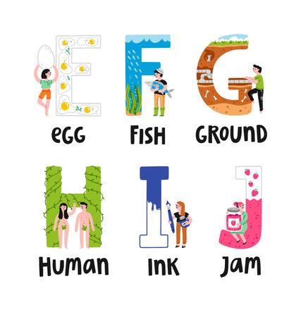 Alphabet letters e to j, illustrations set