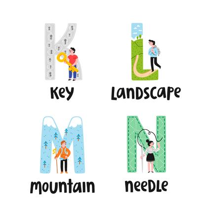 lettres de l'alphabet k à n, illustrations définies Vecteurs