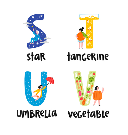 Alphabet letters s to v, illustrations set