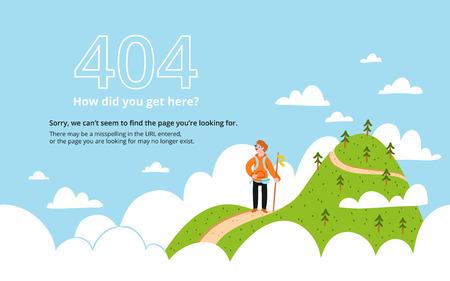 Błąd 404 strony z góry, wektor szablonu
