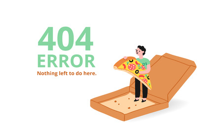 Error 404 page with a pizza, vector illustrated template Illustration