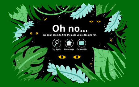 Jungle 404 error page, vector template