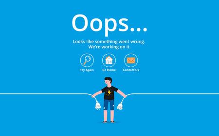 Oops 404 error page, vector template 일러스트