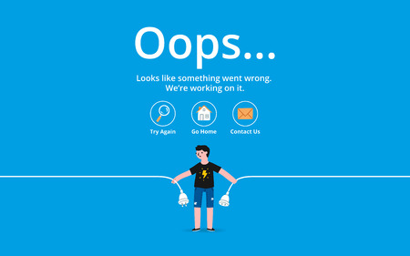 Oops 404 error page, vector template Illustration