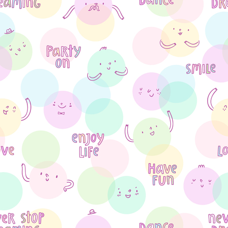 have fun: Smiley faces cartoon seamless pattern