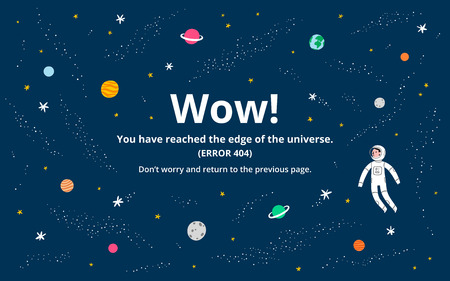 Space 404 error page, vector template