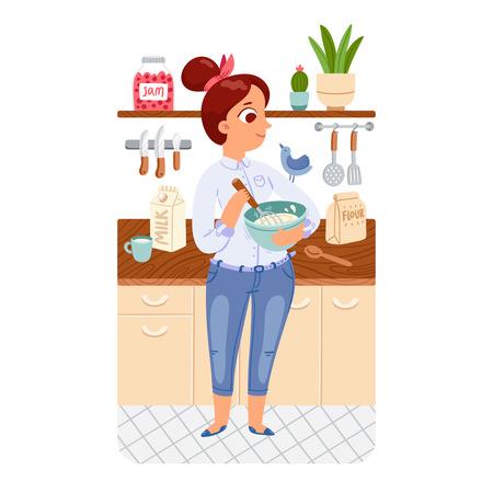 Una niña de cocinar panqueques en una cocina con un pájaro en el hombro, ilustración vectorial