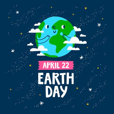 Earth day vector cartoon card
