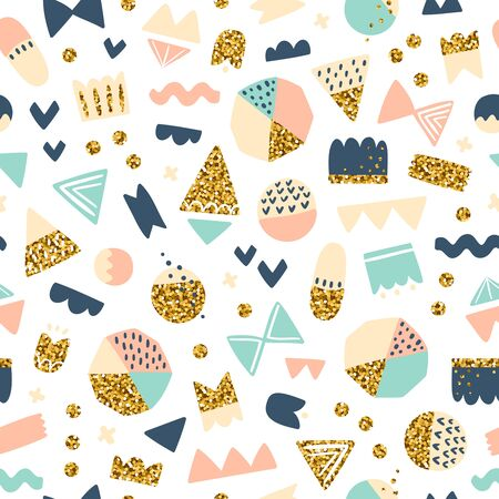 amazing: Fun shapes seamless pattern with gold glitter effect on white