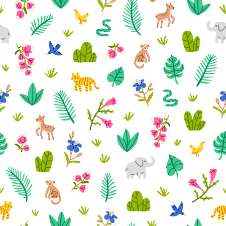 bougainvillea: Jungle wildlife seamless pattern on white background