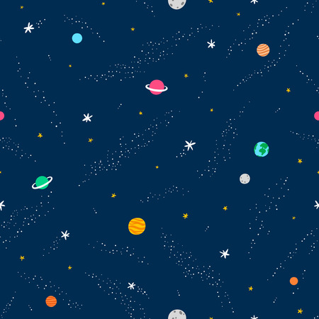 Space seamless pattern, vector background