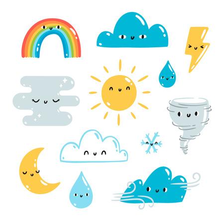 illustrations météorologiques vecteur de dessin animé ensemble