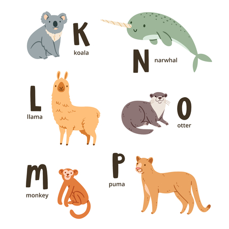 llama: Animal alphabet letters k to p, vector illustrations set