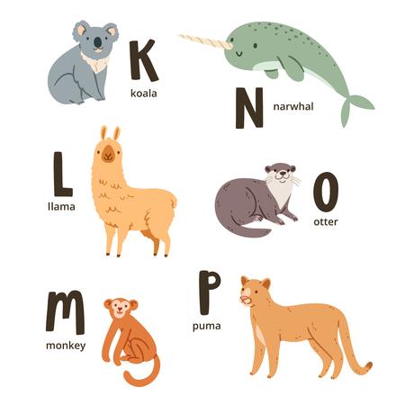 nutria caricatura: Animal letras del alfabeto k ap, ilustraciones del vector fijadas