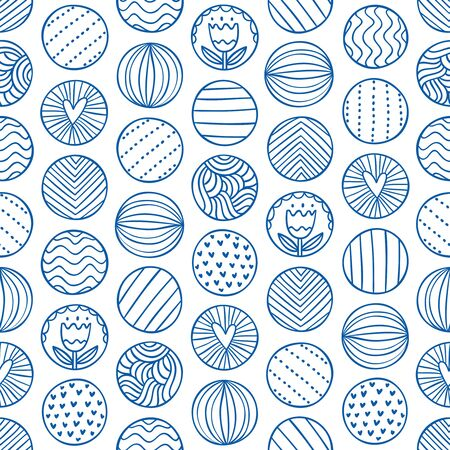 abstract doodle: Abstract circles doodle seamless pattern Illustration