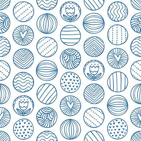circles pattern: Abstract circles doodle seamless pattern Illustration