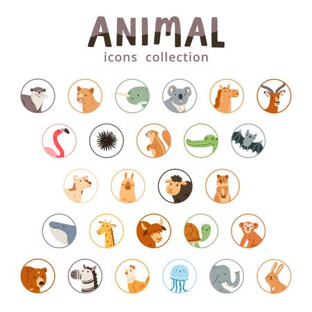 Animal iconen collectie, set van 26 verschillende dieren geïsoleerd op wit, vector illustratie