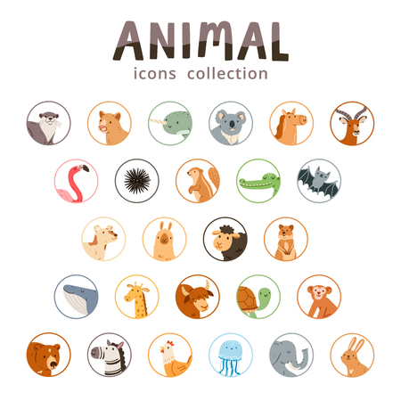 Animal icons collection, set of 26 various animals isolated on white, vector illustration