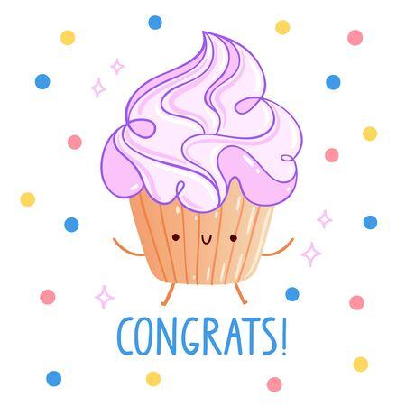party cartoon: Congrats party cupcake cartoon card Illustration