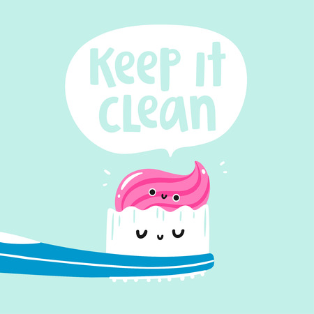 Keep it clean vector card Çizim