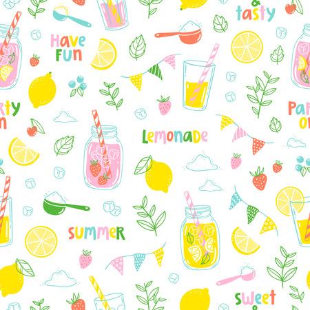 glass jars: Summer lemonade party seamless pattern Illustration