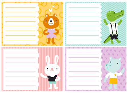 cute cards: Cute note cards for kids, vector templates Illustration