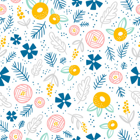 seamless pattern: Floral doodle seamless pattern on white background