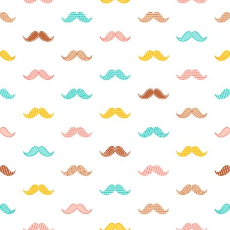 stylish hair: Hipster doodle mustache seamless pattern