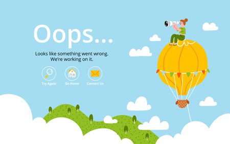 oops: Oops error page with hot air balloon
