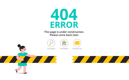 Under construction illustrated error web page template, vector illustration