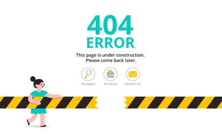 back problem: Under construction illustrated error web page template, vector illustration