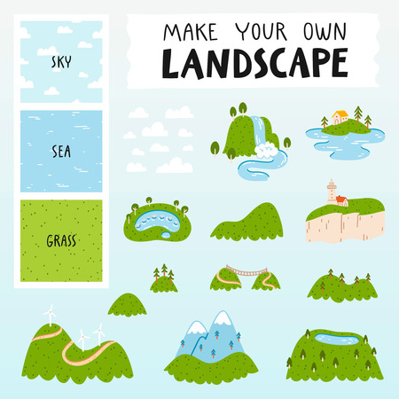 Make your own landscape with 3 seamless patterns, 13 mountains, lakes and clouds illustrations.