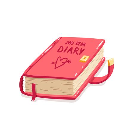 私の親愛なる日記漫画イラスト白で隔離  イラスト・ベクター素材