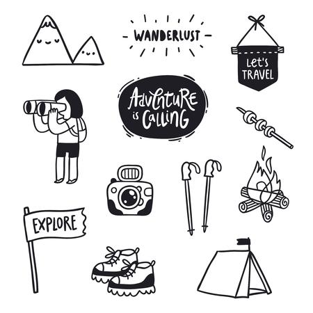 adventures: Outdoor adventures doodle illustrations