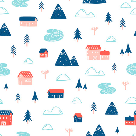 house illustration: Winter town landscape seamless pattern