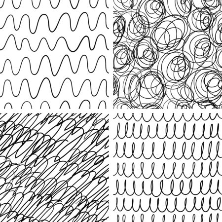 rounds: Abstract scribble seamless patterns set
