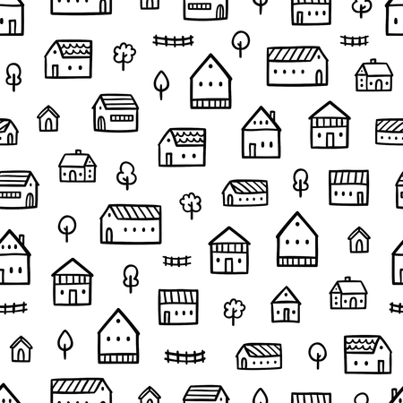 town: City houses doodle seamless pattern Illustration