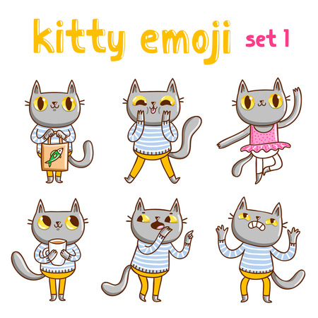 Kitty emoji set 1. Vector mascot illustrations