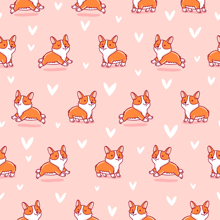Cute corgi seamless pattern on pink background