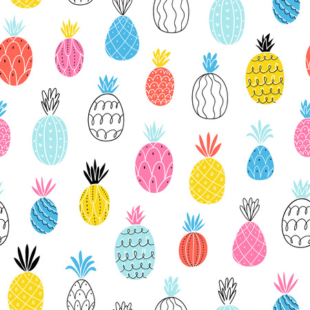 Fun abstract pineapples seamless pattern