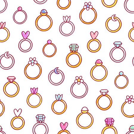 Shiny diamond rings seamless pattern